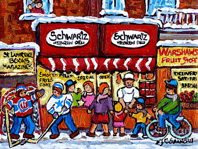 Painting - Winter In The City Street Hockey Family Fun Schwartz Deli Rue St Laurent Quebec Artist C Spandau     by Carole Spandau