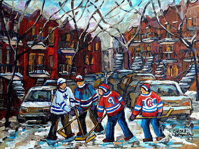 Painting - Winter In The City Street Hockey Montreal Snowy Scene Urban Quebec Painting Carole Spandau Artist by Carole Spandau