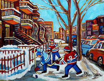 Painting - Winter In The City Street Hockey Winding Satircases Kids Shinny Hockey Game C Spandau Quebec Art     by Carole Spandau