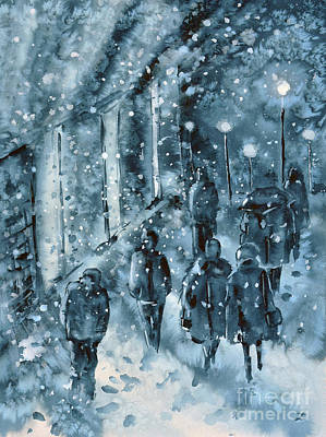 Painting - Winter In The City by Zaira Dzhaubaeva