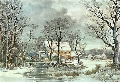Weathered Painting - Winter In The Country - The Old Grist Mill by Currier and Ives