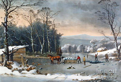 Dog In Landscape Painting - Winter In The Country by Currier and Ives