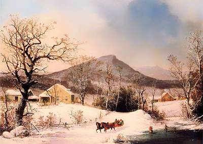 Winter In The Country - Distant Hills Art Print