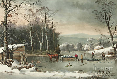 Painting - Winter In The Country, Getting Ice, 1864 by Currier and Ives