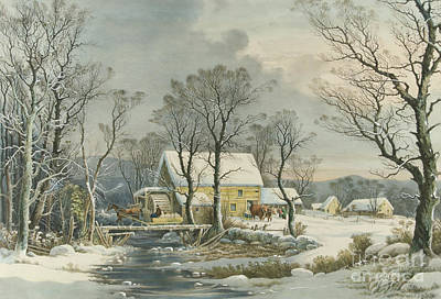 Painting - Winter In The Country, The Old Grist Mill, 1864  by Currier and Ives