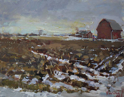 Snowed Trees Painting - Winter In The Farm by Ylli Haruni