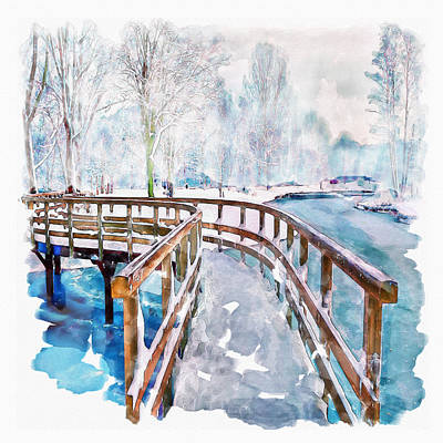 Snow Mixed Media - Winter In The Park by Marian Voicu
