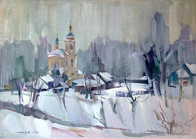 Winter In The Village Original by Nikolay Malafeev