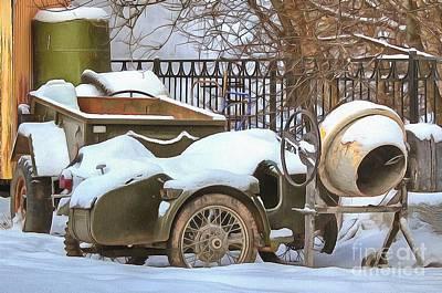 Pyrography - winter in the village Russian by Yury Bashkin