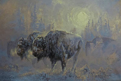 Painting - Winter In Yellowstone by Mia DeLode