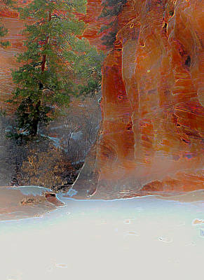 Zion National Park Mixed Media - Winter In Zion by Peri Marr