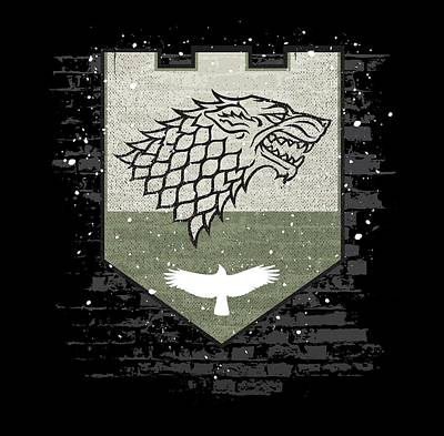 Raven Digital Art - Winter Is Here Stark Banner by Edward Draganski