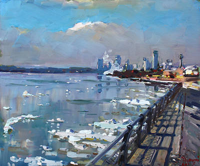 Fall River Painting - Winter Is Surrendering Its Weapons by Ylli Haruni