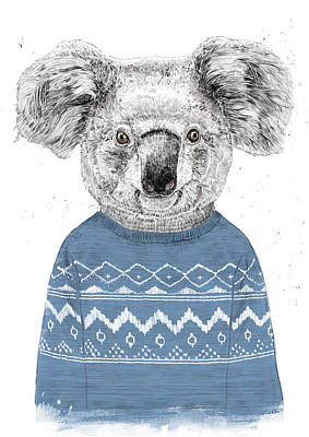 Koala Wall Art - Drawing - Winter Koala by Balazs Solti