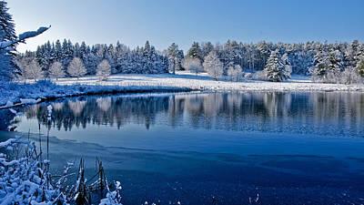 Winter Lake Scene 2 Art Print by Edward Myers