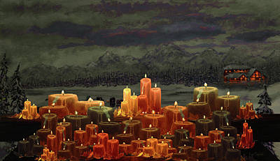 Ice Fishing Painting - Winter Lakes Candle Light 3 by Ken Figurski