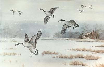 Snow Geese Painting - Winter Landing by ML McCormick