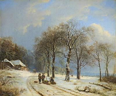 Snowy Day Mixed Media - Winter Landscape 2 by Barend Cornelis Koekkoek