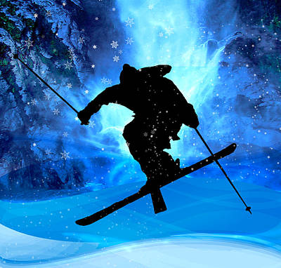 Slalom Painting - Winter Landscape And Freestyle Skier by Elaine Plesser