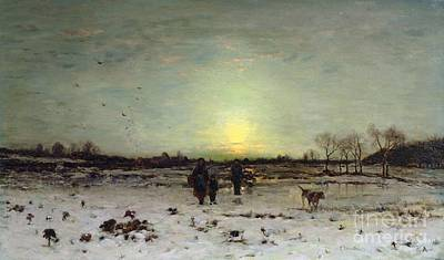Snow Scene Painting - Winter Landscape At Sunset by Ludwig Munthe