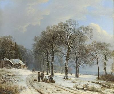 Painting - Winter Landscape, Barend Cornelis Koekkoek, 1835 - 1838 by Celestial Images