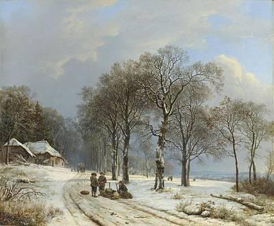 Ceramics Painting - Winter Landscape, Barend Cornelis Koekkoek, 1835 - 1838 by Celestial Images