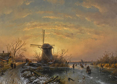 Painting - Winter Landscape by Charles Leickert