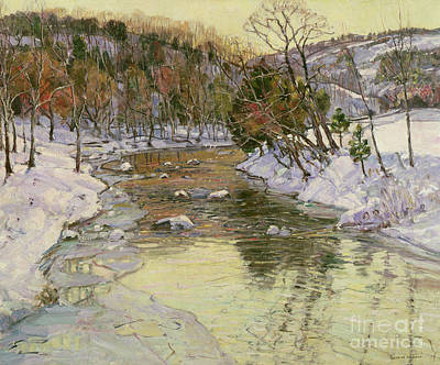 Reflecting Sunset Painting - Winter Landscape by George Gardner Symons