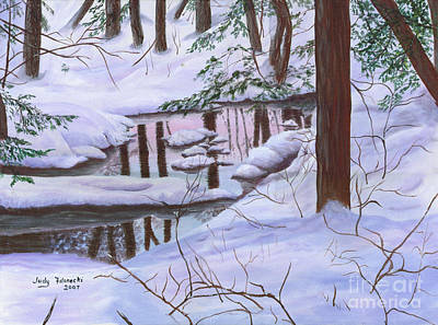Art Print featuring the painting Winter Landscape by Judy Filarecki