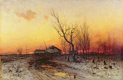 Julius Painting - Winter Landscape by Julius Sergius Klever