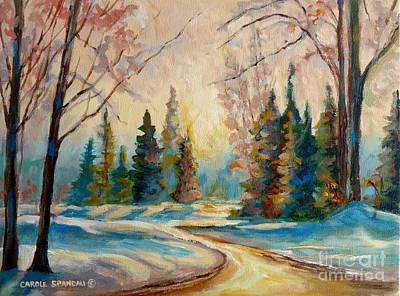 Rill Painting - Winter Landscape Knowlton Quebec by Carole Spandau