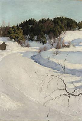 Pekka Wall Art - Painting - Winter Landscape, Myllykyla by Pekka Halonen