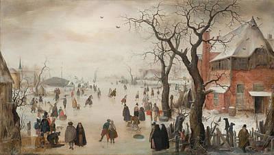 Netherlands Painting - Winter Landscape Near A Village, C. 1610 by Hendrick Avercamp