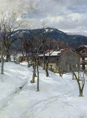 Snow Scene Painting - Winter Landscape Near Kutterling by Johann Sperl