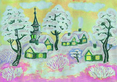 Painting - Winter Landscape On Yellow, Painting by Irina Afonskaya