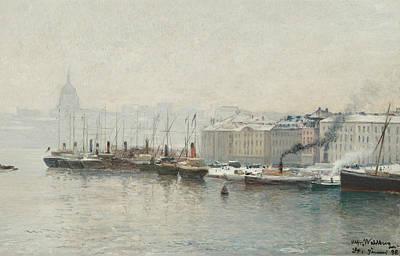 Harbor Painting - Winter Landscape Over Skeppsbron, Stockholm by Alfred Wahlberg