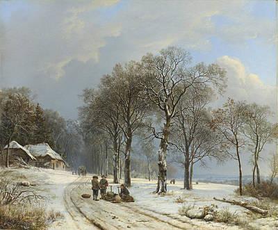 Snowy Day Mixed Media - Winter Landscape by Barend Cornelis Koekkoek