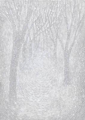 Forecast Painting - Winter Landscape - Snowfall In The Park -  Hand Drawn Illustration by Anastasiia Kononenko