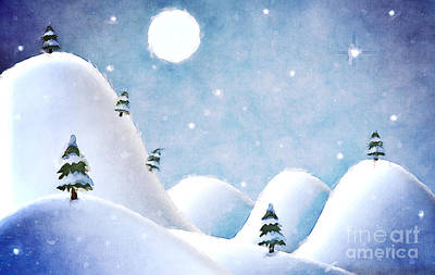 Winter Landscape Under Full Moon Art Print