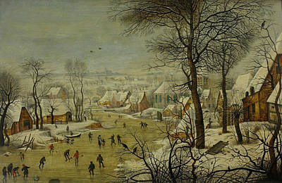 16th Century Painting - Winter Landscape With A Bird Trap by Pieter Brueghel the Younger