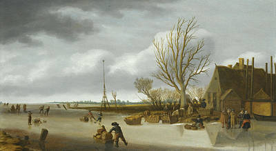 Painting - Winter Landscape With A Boy On Skates Pushing A Sledge by Salomon van Ruysdael