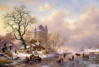 Winter Scene Painting - Winter Landscape With Castle by Frederick Marianus Kruseman
