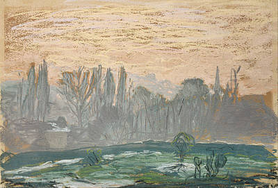 Painting - Winter Landscape With Evening Sky by Claude Monet