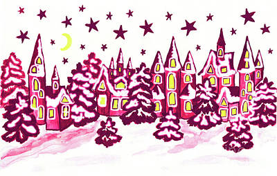Painting - Winter Landscape With Houses In Pink Colours by Irina Afonskaya