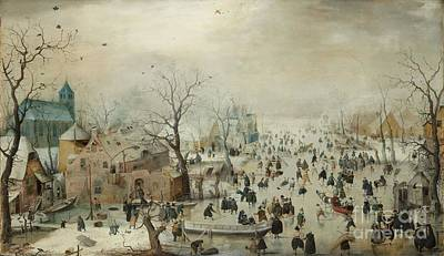 Painting - Winter Landscape With Ice Skaters by R Muirhead Art