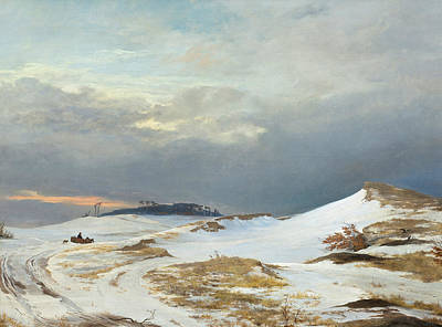 Painting - Winter Landscape With Northern Zealand Character by Johan Thomas Lundbye