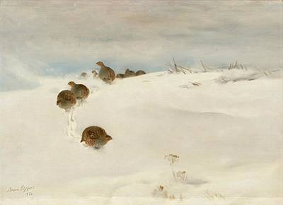 Bruno Painting - Winter Landscape With Partridges by Bruno Liljefors