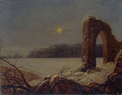 Eerie Painting - Winter Landscape With Ruined Arch by Celestial Images