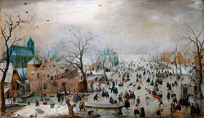 Winter Landscape Drawing - Winter Landscape With Skaters by Celestial Images