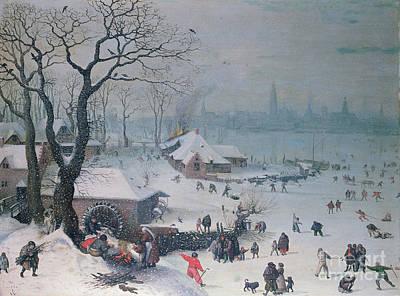 Winter Landscape With Snowfall Near Antwerp Art Print